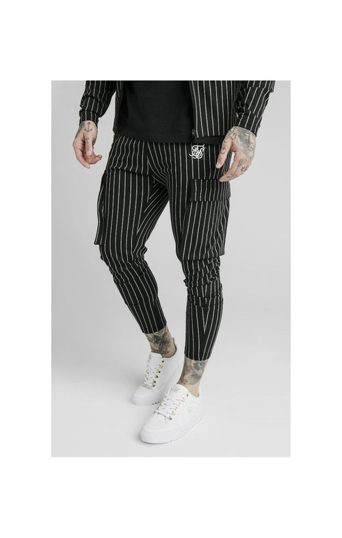 SikSilk Pinstripe Cargo Pants - Black & White