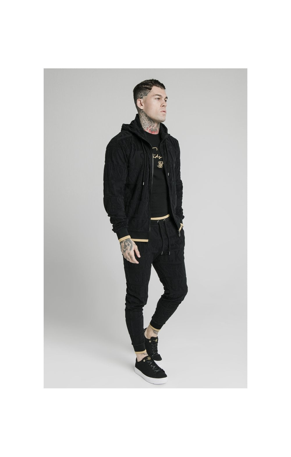 SikSilk Inverse Zip Through Hoodie - Black