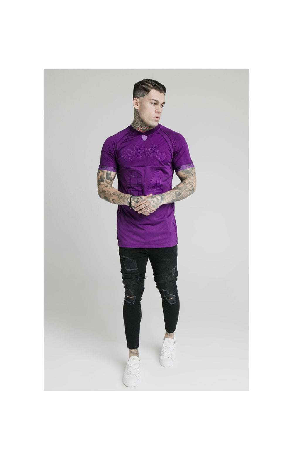 Load image into Gallery viewer, SikSilk Stretch Sports Tee - Purple (2)