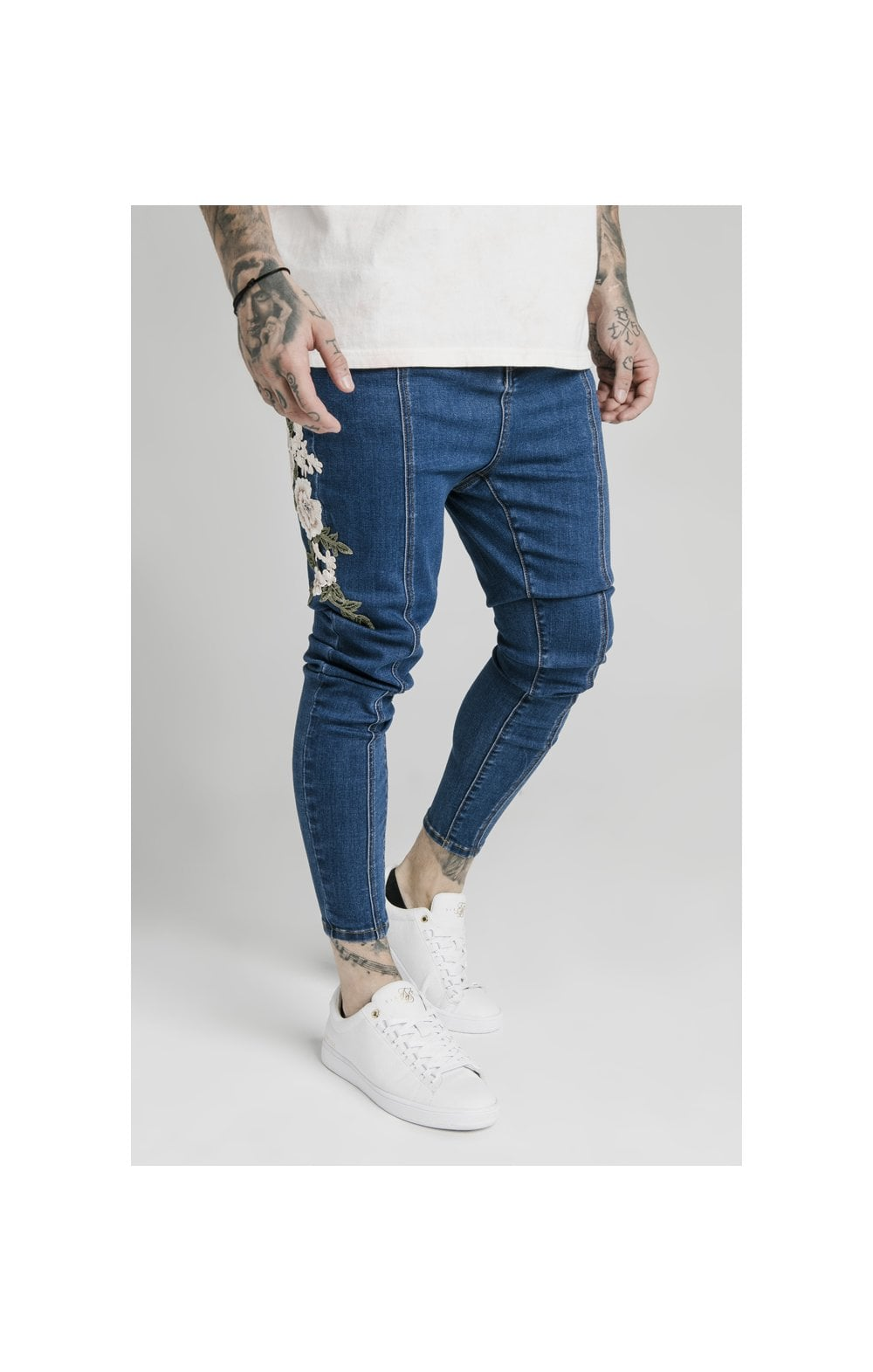 Load image into Gallery viewer, SikSilk Drop Crotch Pleated Appliqu Denims - Midstone (1)