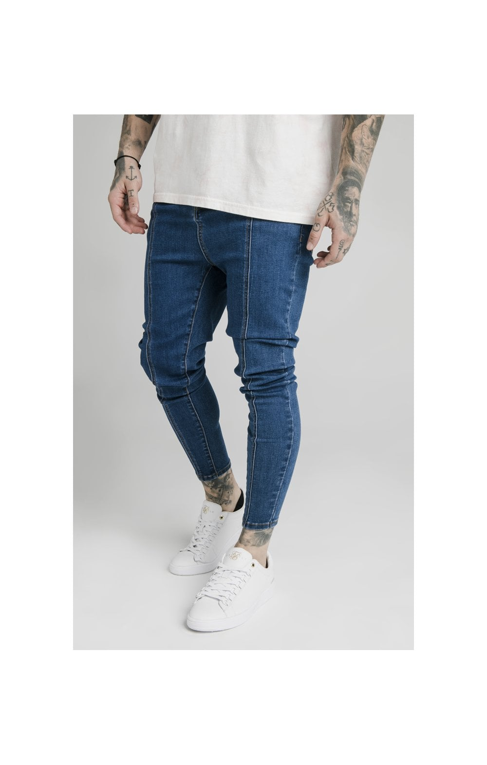Load image into Gallery viewer, SikSilk Drop Crotch Pleated Appliqu Denims - Midstone