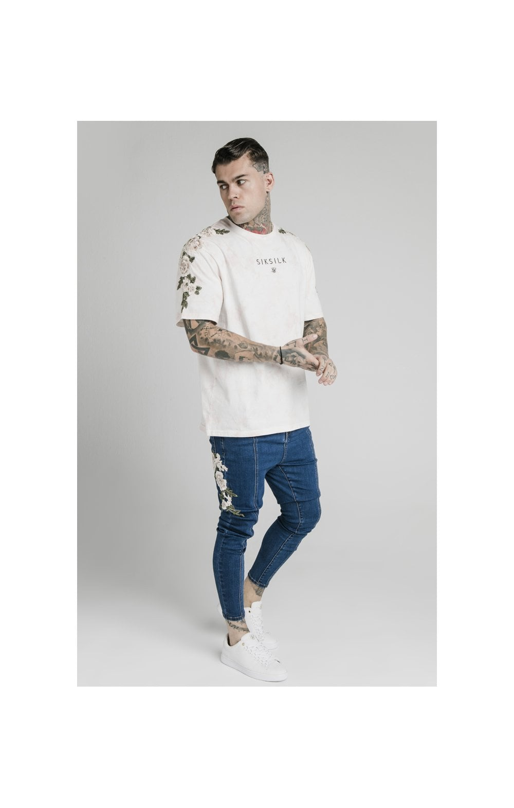 Load image into Gallery viewer, SikSilk Drop Crotch Pleated Appliqu Denims - Midstone (4)