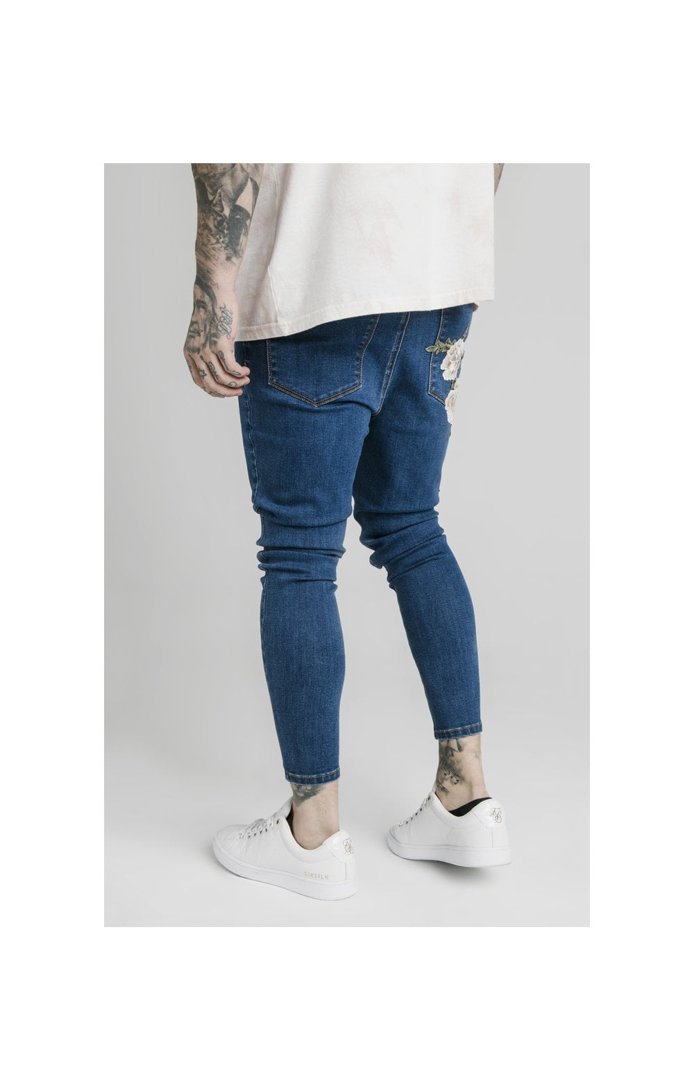 Load image into Gallery viewer, SikSilk Drop Crotch Pleated Appliqu Denims - Midstone (2)
