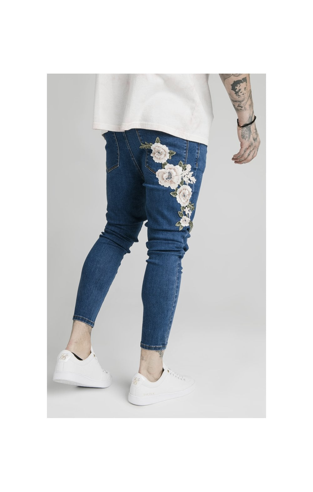 Load image into Gallery viewer, SikSilk Drop Crotch Pleated Appliqu Denims - Midstone (3)