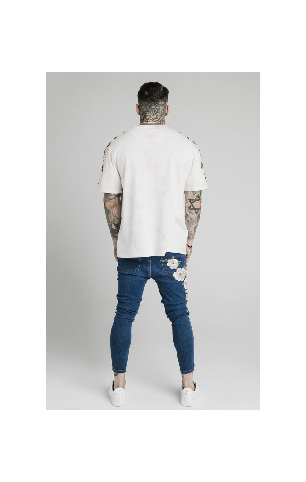 Load image into Gallery viewer, SikSilk Drop Crotch Pleated Appliqu Denims - Midstone (5)