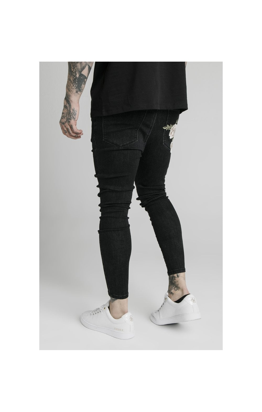 SikSilk Drop Crotch Pleated Appliqu Denims - Black (1)