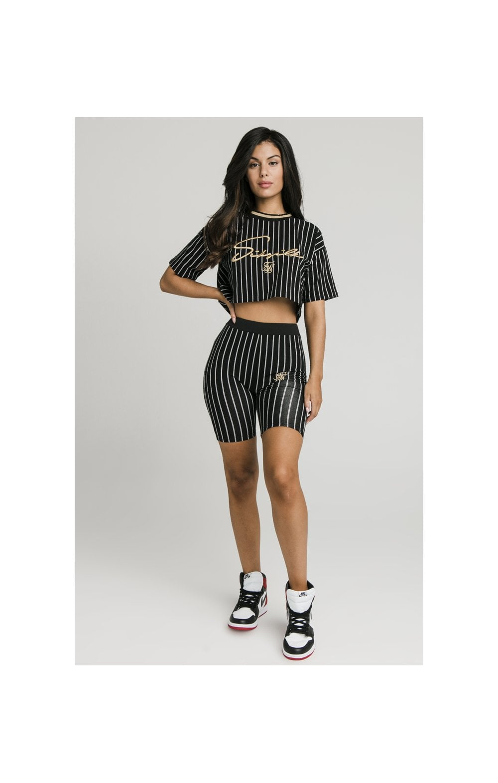 Load image into Gallery viewer, SikSilk Baseball Stripe Cycle Shorts - Black (4)