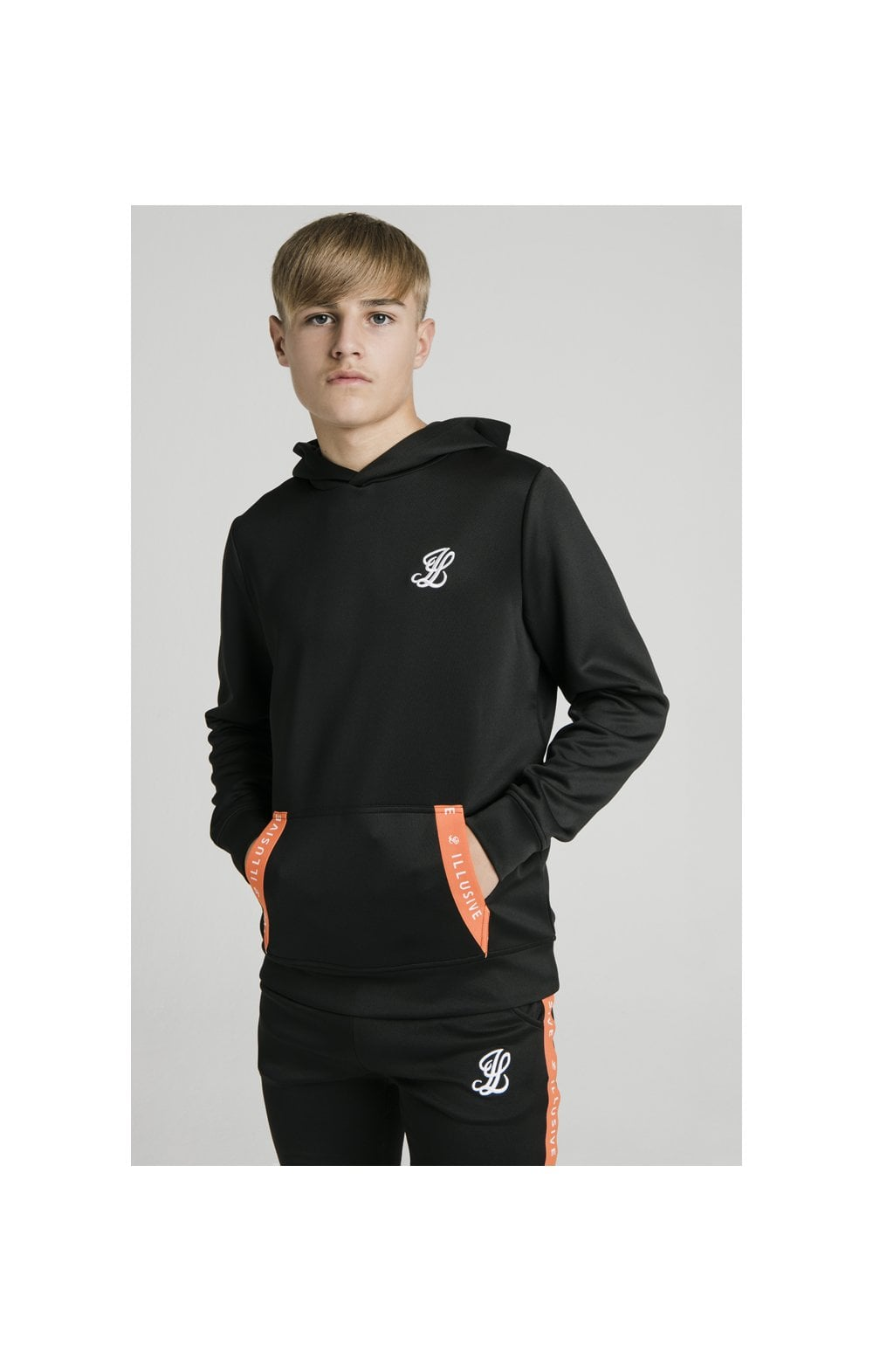 Illusive London Back Tape Zip Through Hoodie - Black
