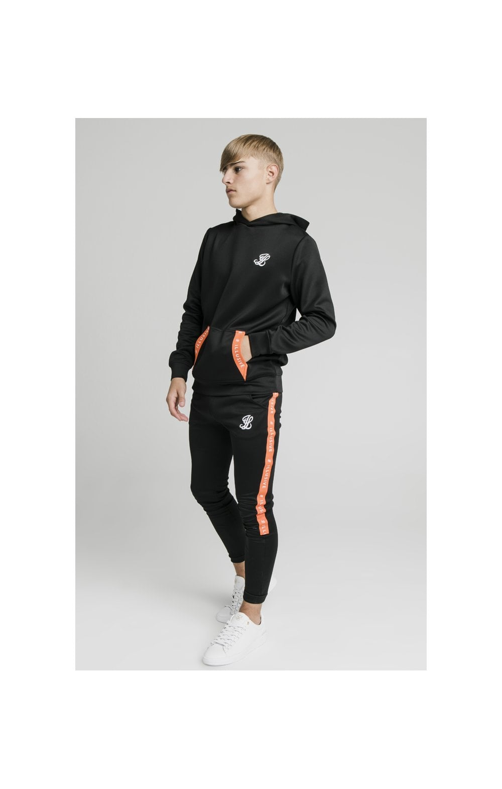 Illusive London Back Tape Zip Through Hoodie - Black (4)