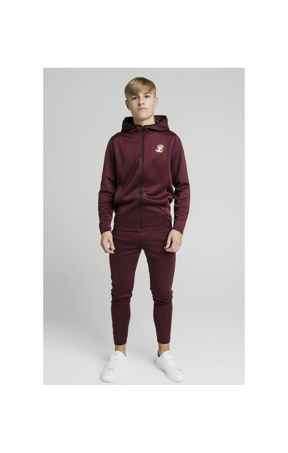 Illusive London Agility Zip Through Hoodie - Burgundy (4)