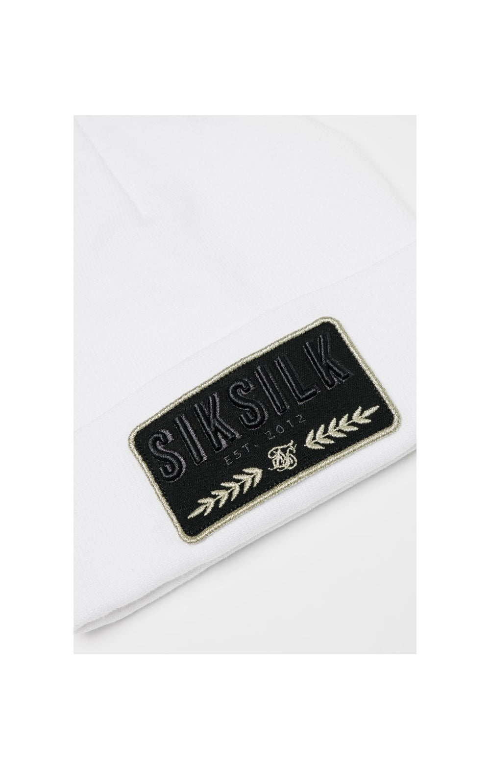 SikSilk Patch Beanie - White (1)
