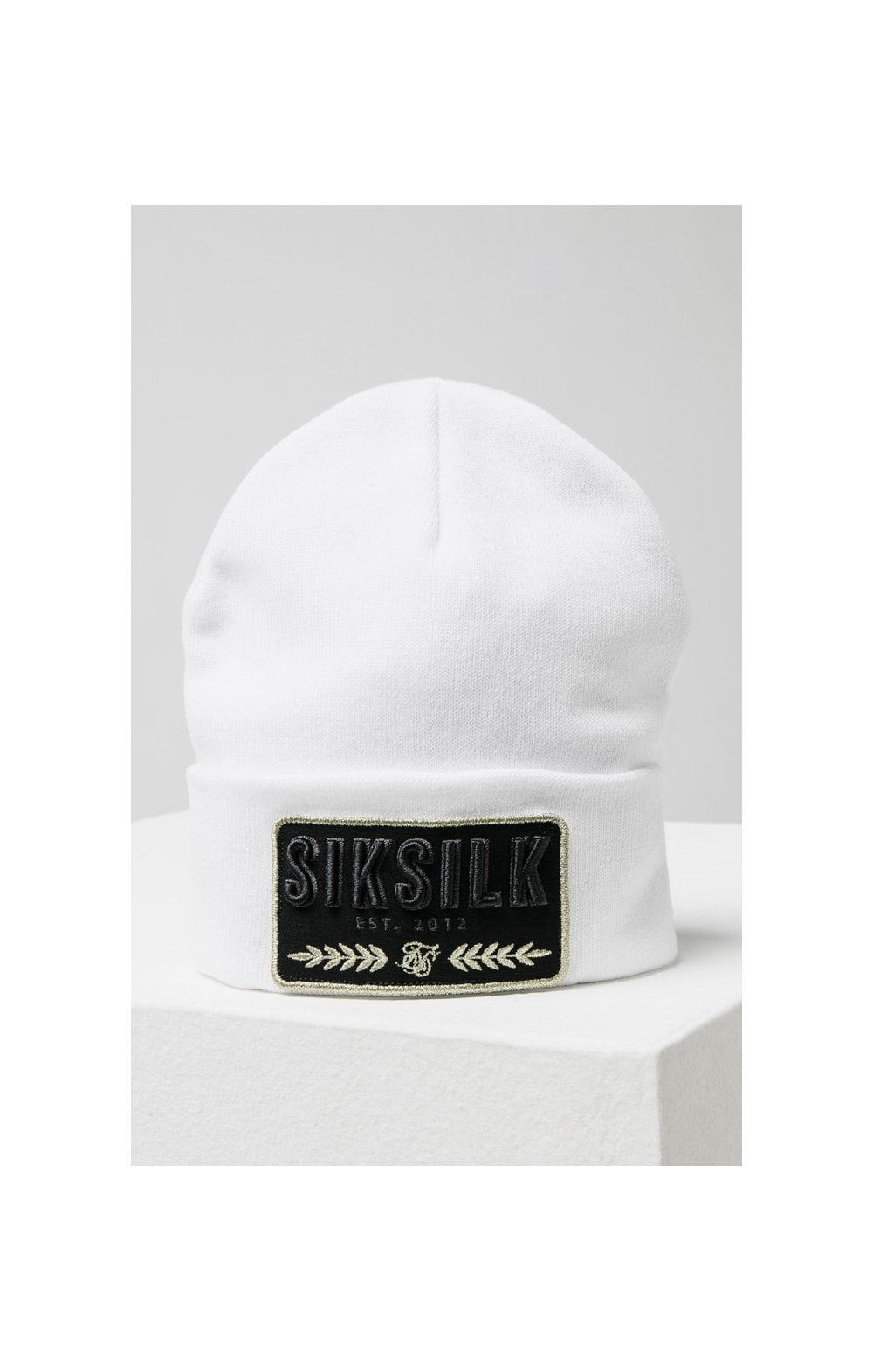 SikSilk Patch Beanie - White (2)