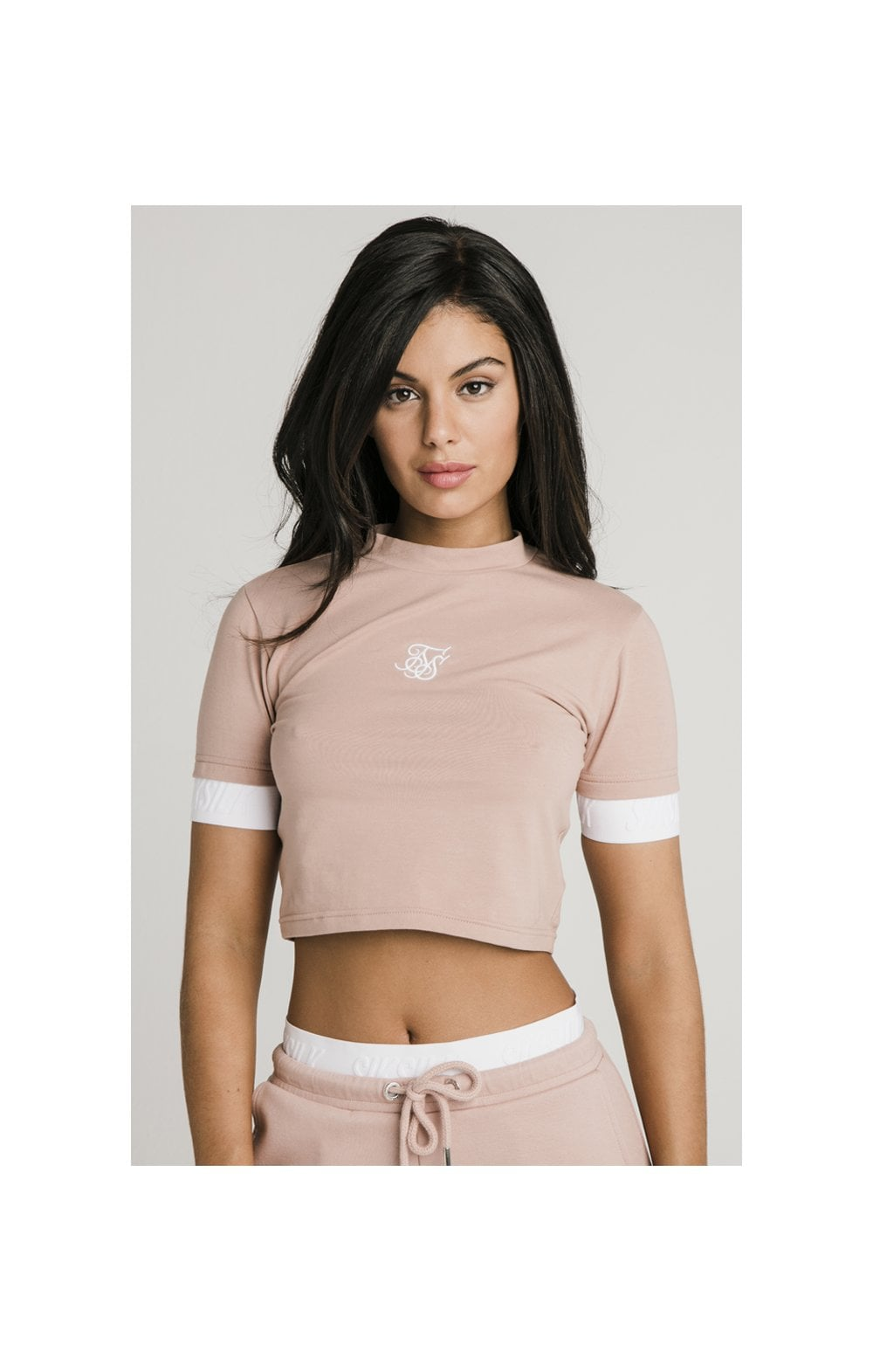 Load image into Gallery viewer, SikSilk Tape Cuff Crop Tee - Rose
