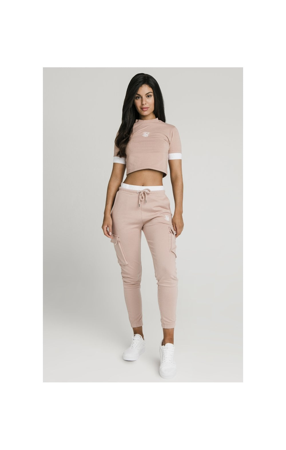 Load image into Gallery viewer, SikSilk Tape Cuff Crop Tee - Rose (4)