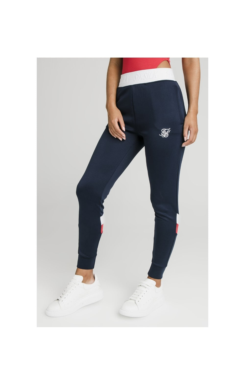 SikSilk Retro Sport Taped Joggers - Navy