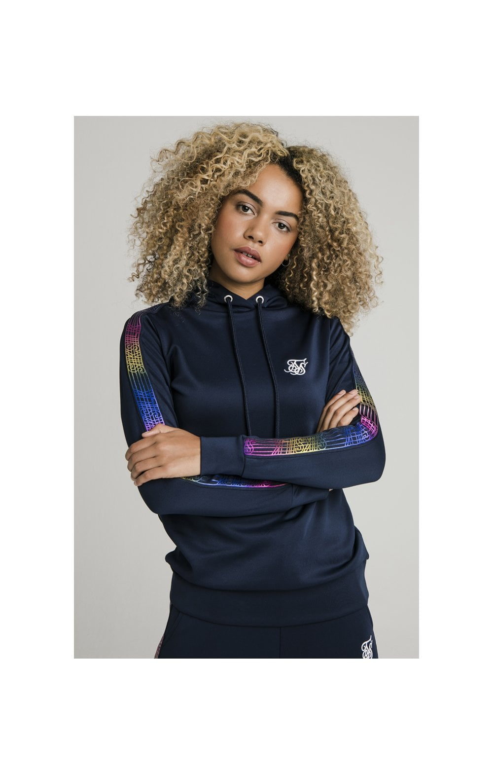 Load image into Gallery viewer, SikSilk Rainbow Runner Track Top - Navy