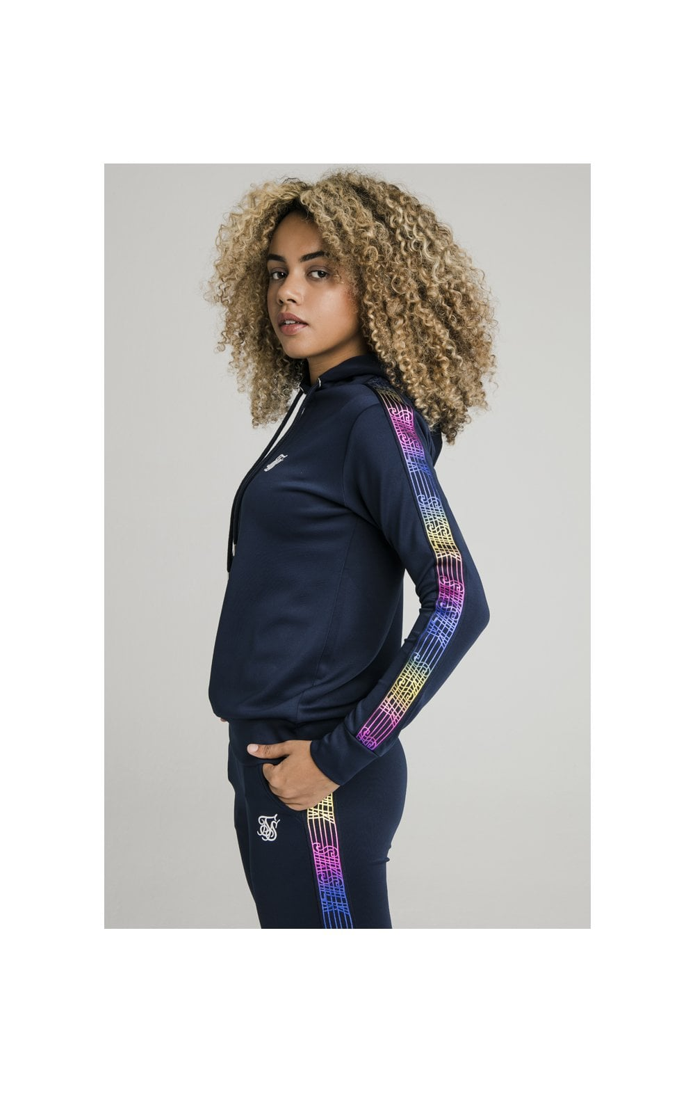 Load image into Gallery viewer, SikSilk Rainbow Runner Track Top - Navy (1)