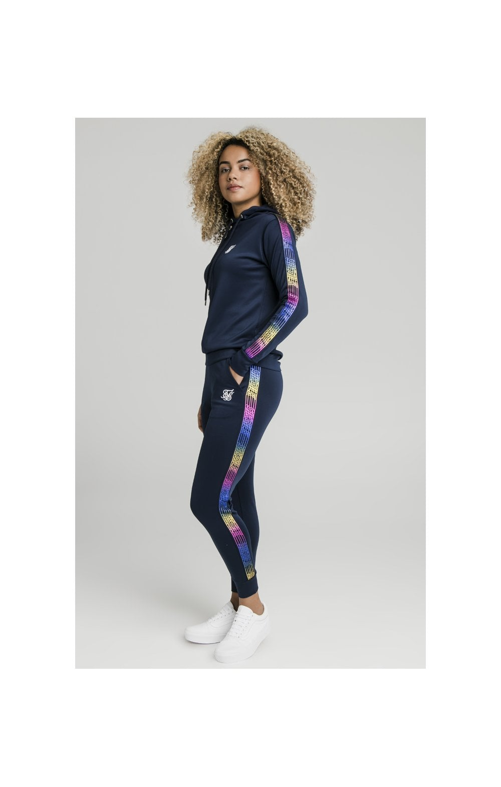 Load image into Gallery viewer, SikSilk Rainbow Runner Track Top - Navy (4)
