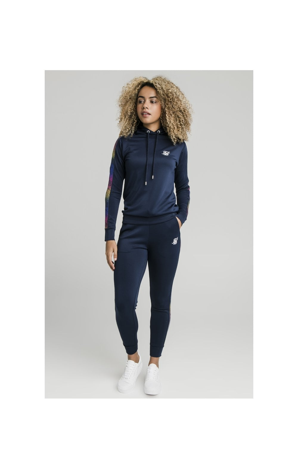 Load image into Gallery viewer, SikSilk Rainbow Runner Track Top - Navy (5)