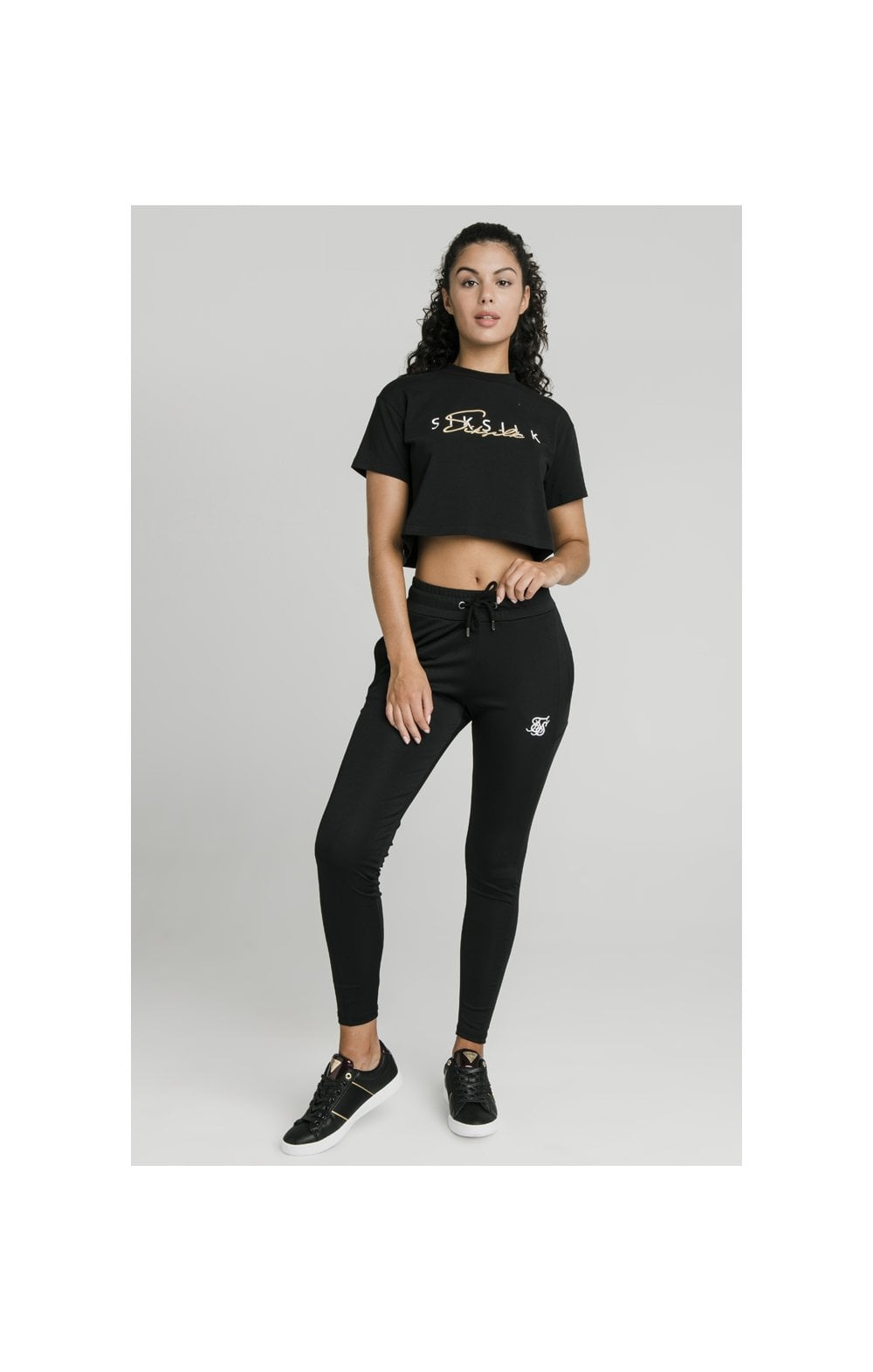 Load image into Gallery viewer, SikSilk Colour Signature Crop Tee - Black (4)
