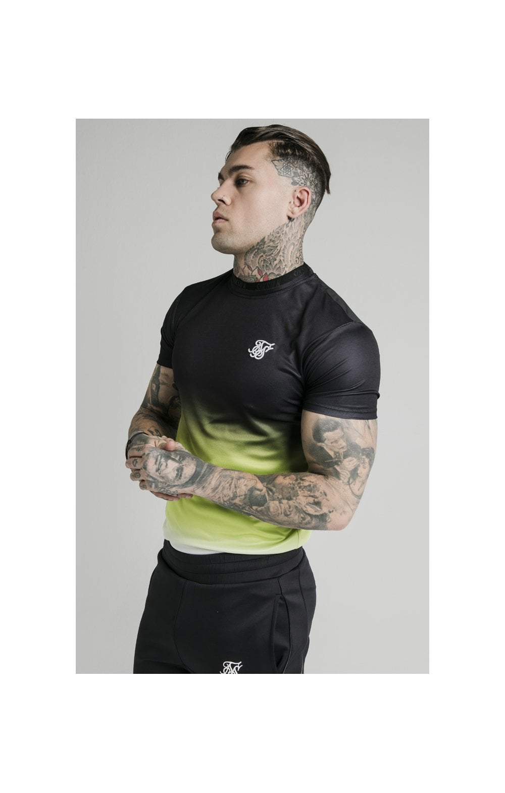 SikSilk S/S Tri Fade Tape Collar Tee - Black, Fluro & White