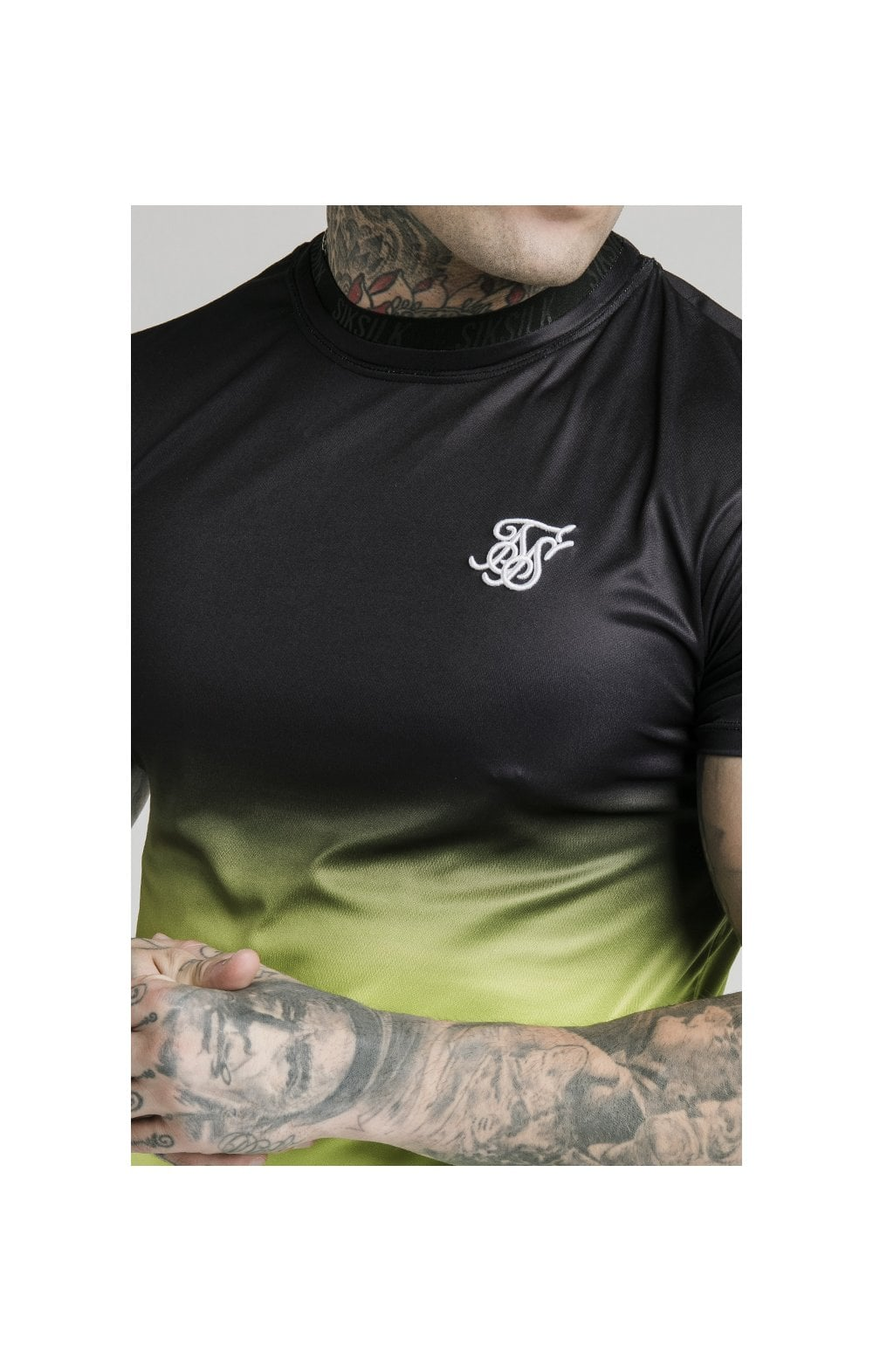 SikSilk S/S Tri Fade Tape Collar Tee - Black, Fluro & White (1)