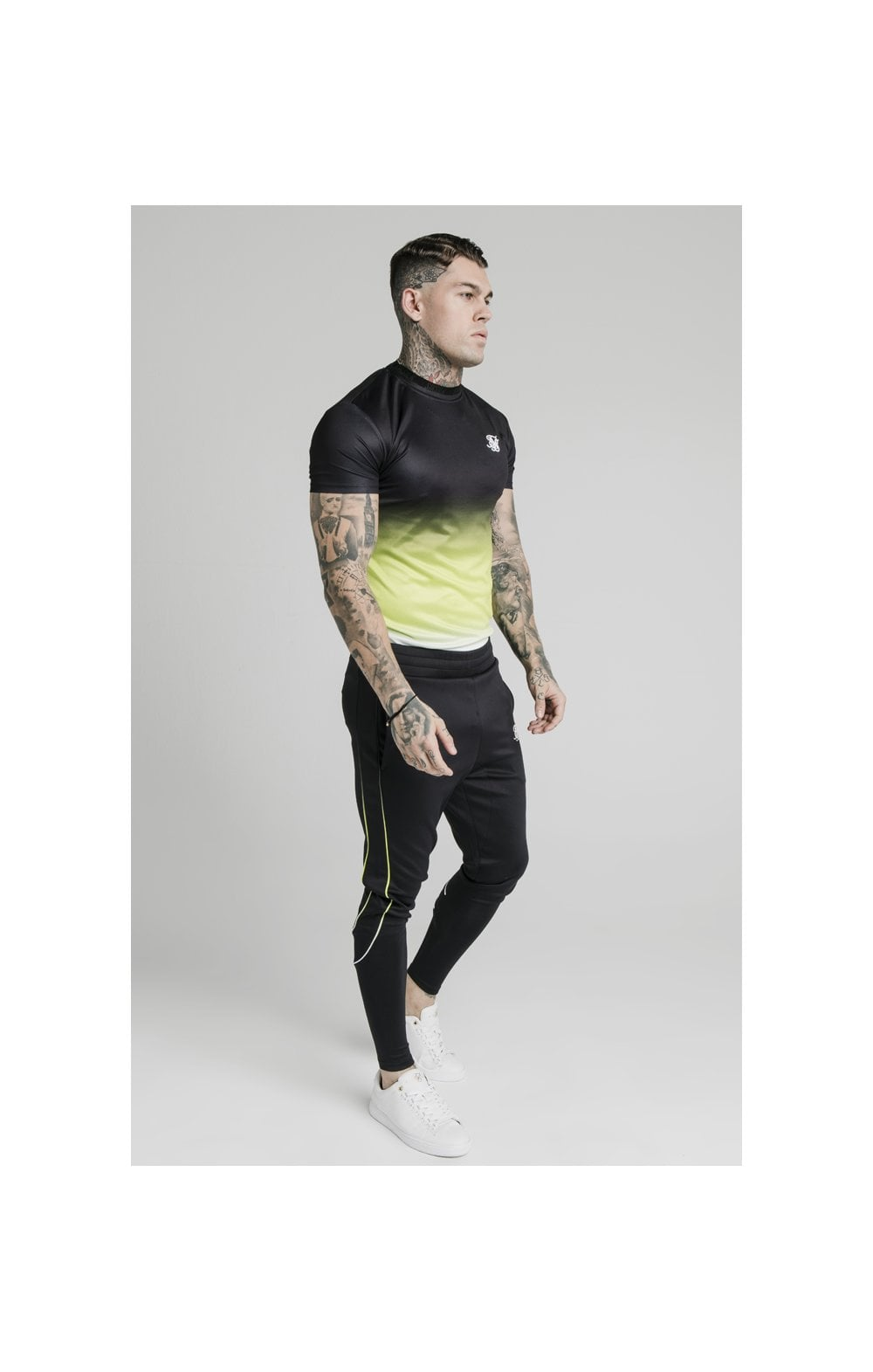 SikSilk S/S Tri Fade Tape Collar Tee - Black, Fluro & White (3)