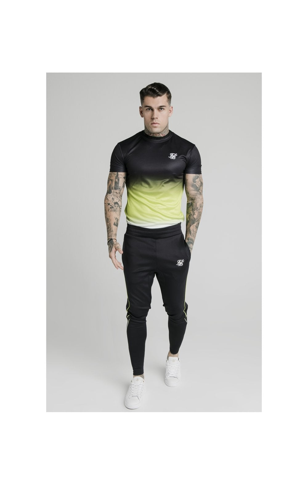 SikSilk S/S Tri Fade Tape Collar Tee - Black, Fluro & White (4)
