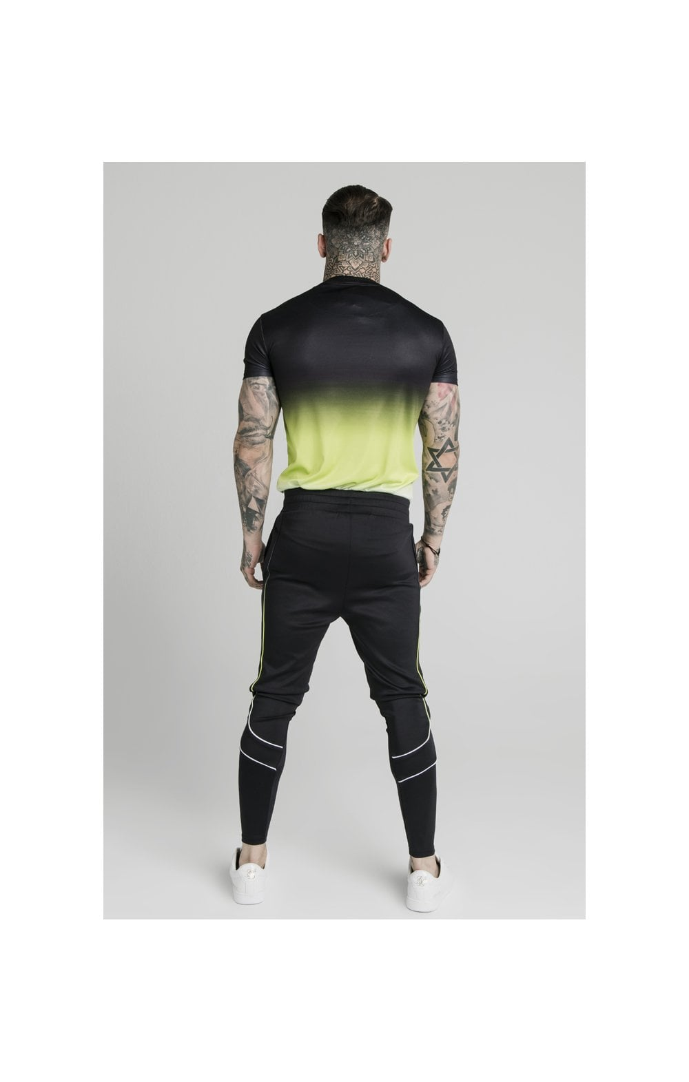 SikSilk S/S Tri Fade Tape Collar Tee - Black, Fluro & White (5)