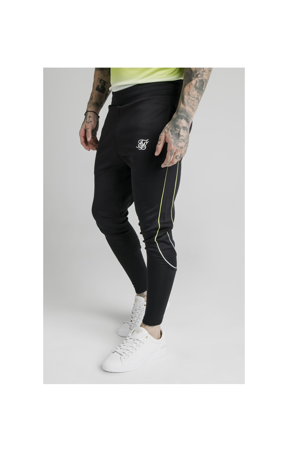 Load image into Gallery viewer, SikSilk Tri Fade Tape Track Pants - Black, Fluro & White