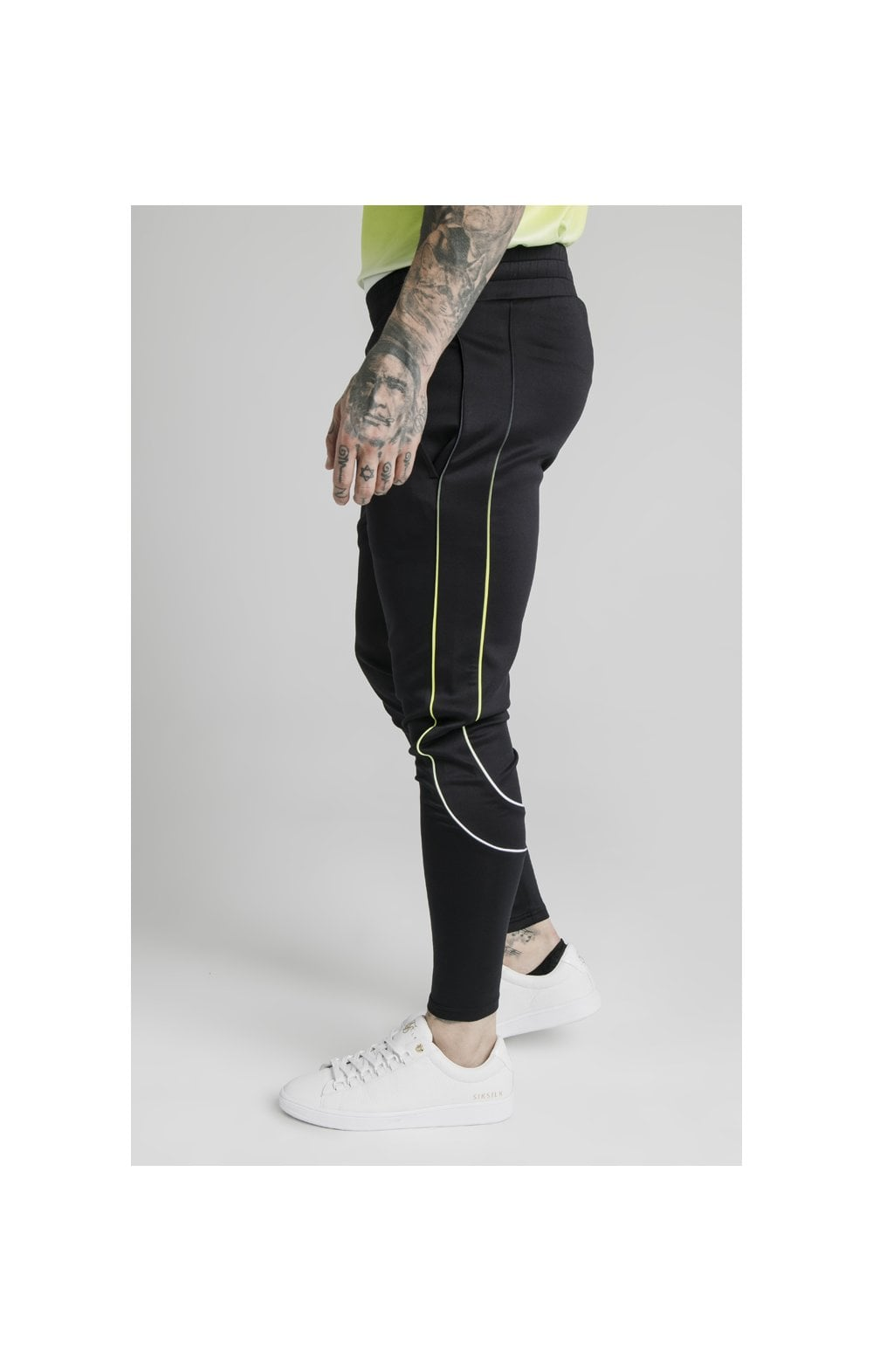 Load image into Gallery viewer, SikSilk Tri Fade Tape Track Pants - Black, Fluro & White (1)