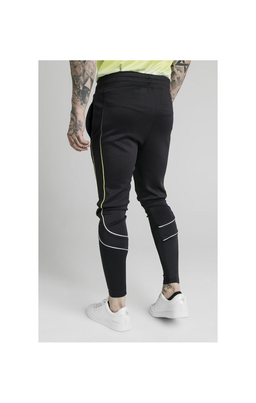 Load image into Gallery viewer, SikSilk Tri Fade Tape Track Pants - Black, Fluro & White (2)