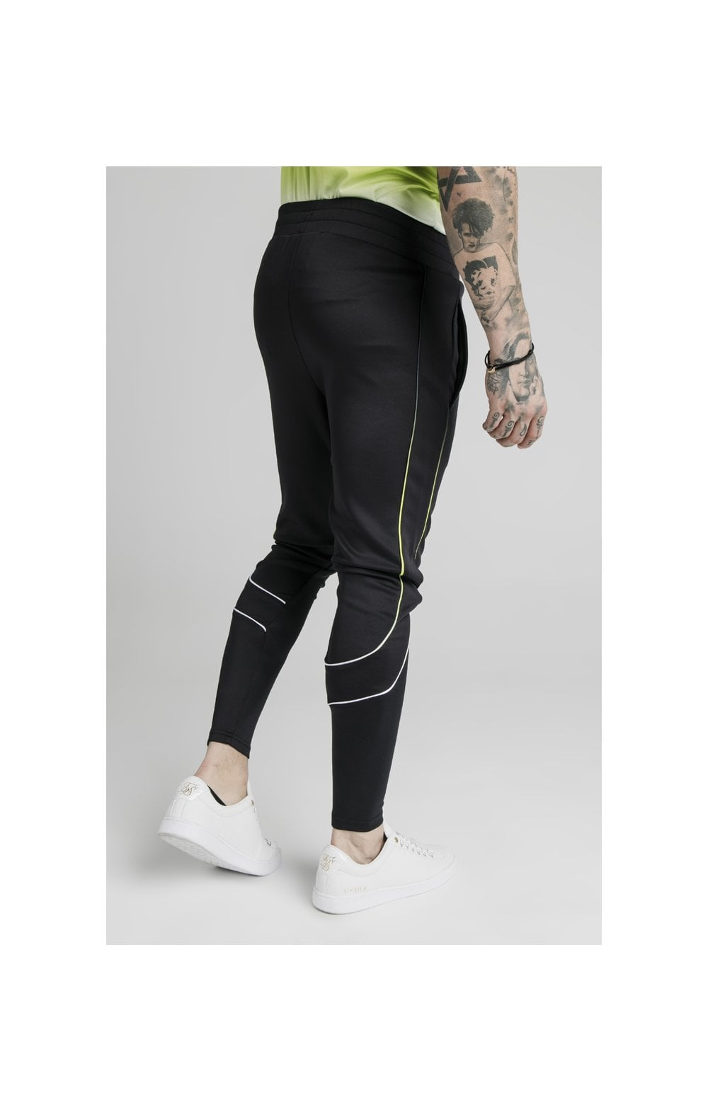 Load image into Gallery viewer, SikSilk Tri Fade Tape Track Pants - Black, Fluro & White (3)