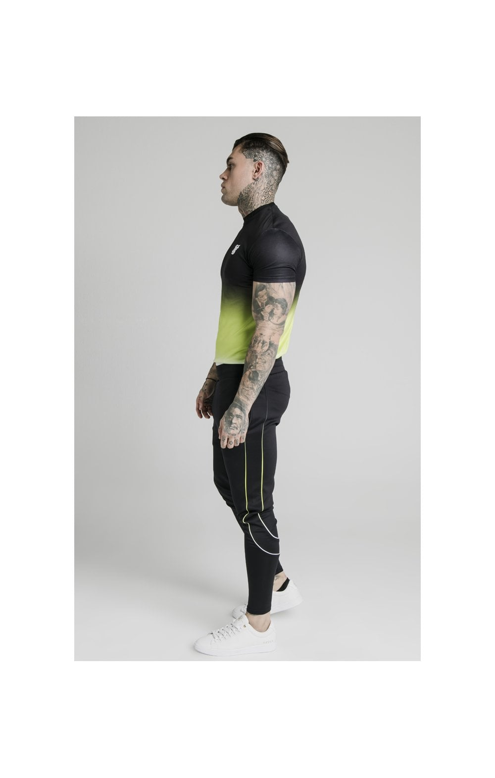 Load image into Gallery viewer, SikSilk Tri Fade Tape Track Pants - Black, Fluro & White (5)