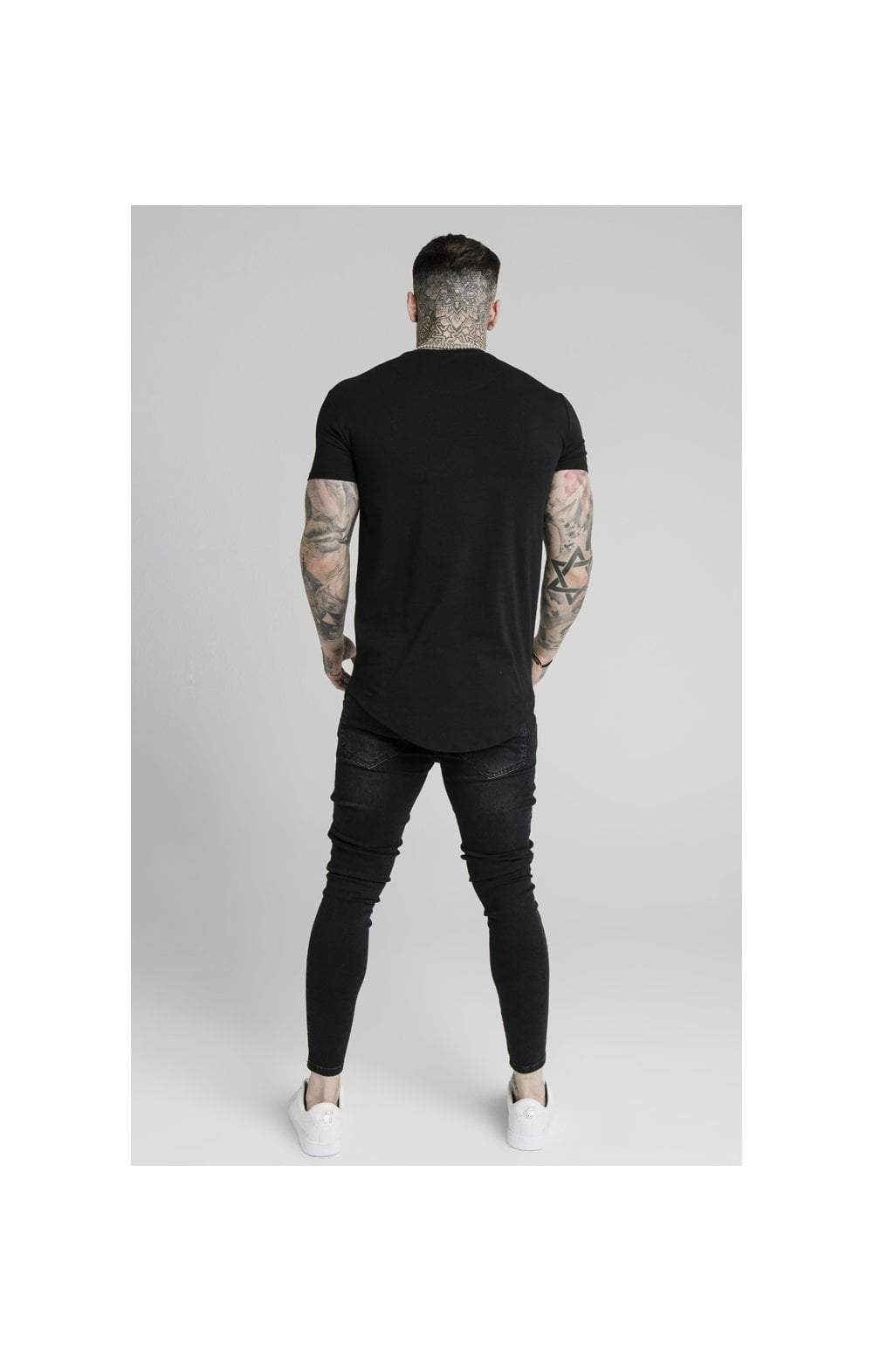 SikSilk Curved Hem Colours Gym Tee - Black & Multi (4)