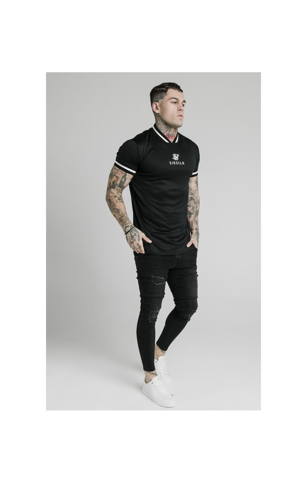 Load image into Gallery viewer, SikSilk S/S Poly Rib Collar Tee - Black (2)