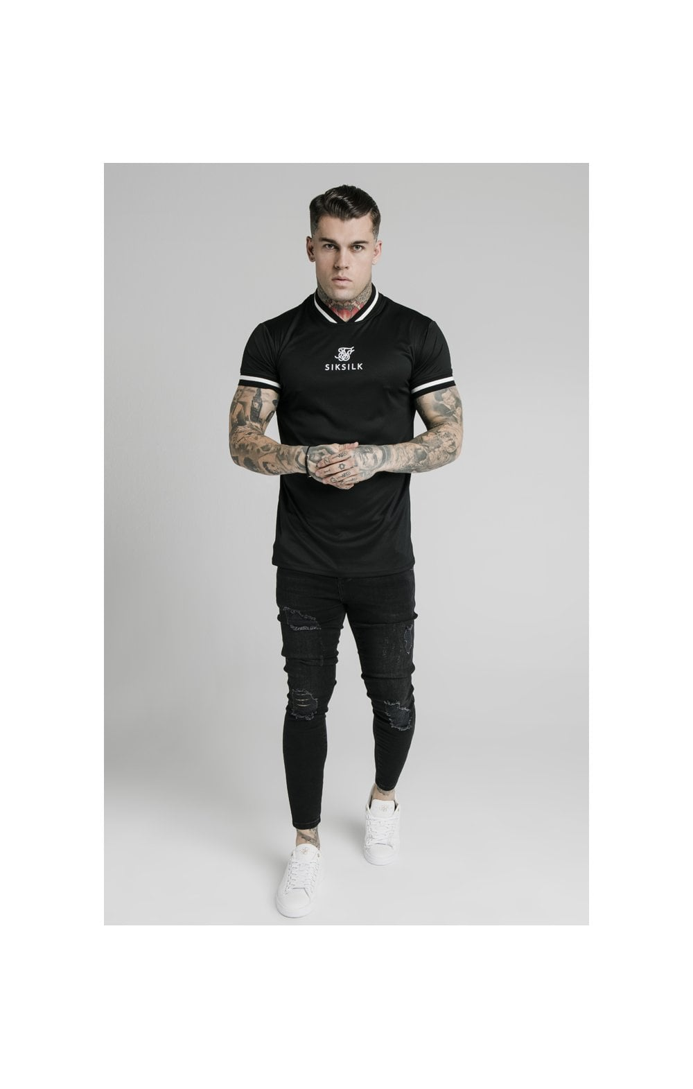 SikSilk S/S Poly Rib Collar Tee - Black (3)