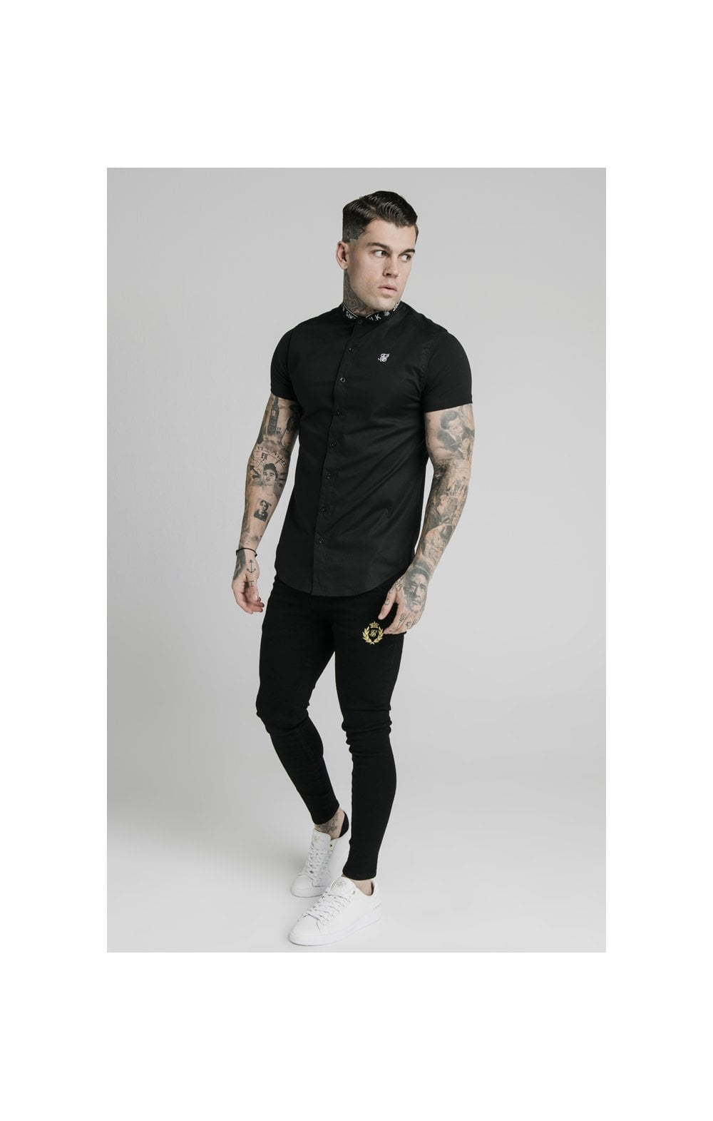 Load image into Gallery viewer, SikSilk S/S Tape Collar Shirt - Black (2)