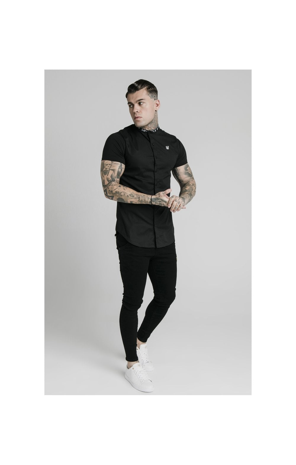 Load image into Gallery viewer, SikSilk S/S Tape Collar Shirt - Black (3)