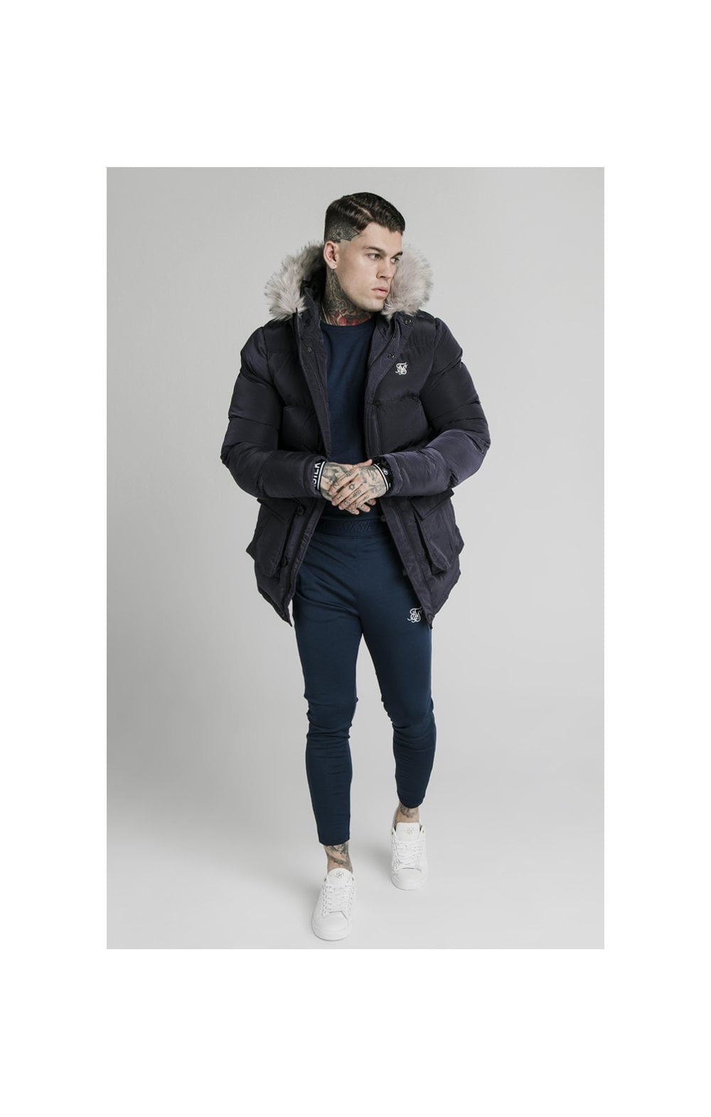 Load image into Gallery viewer, SikSilk Rip Stop Puff Parka - Navy
