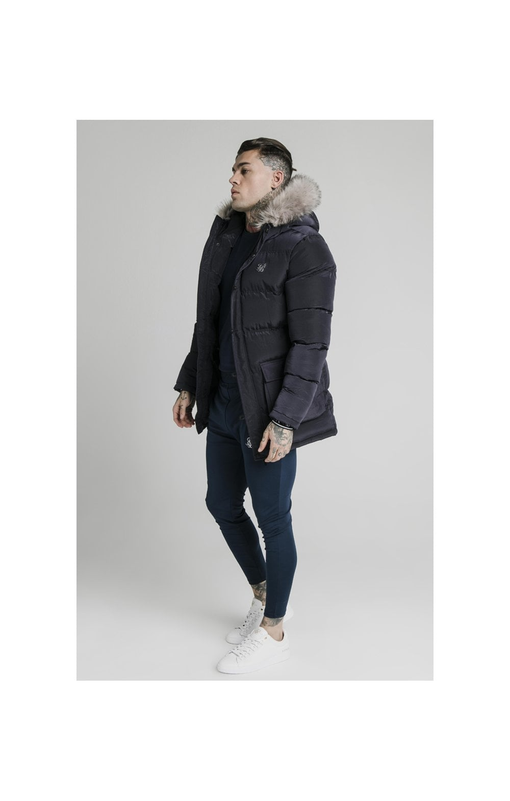 Load image into Gallery viewer, SikSilk Rip Stop Puff Parka - Navy (1)