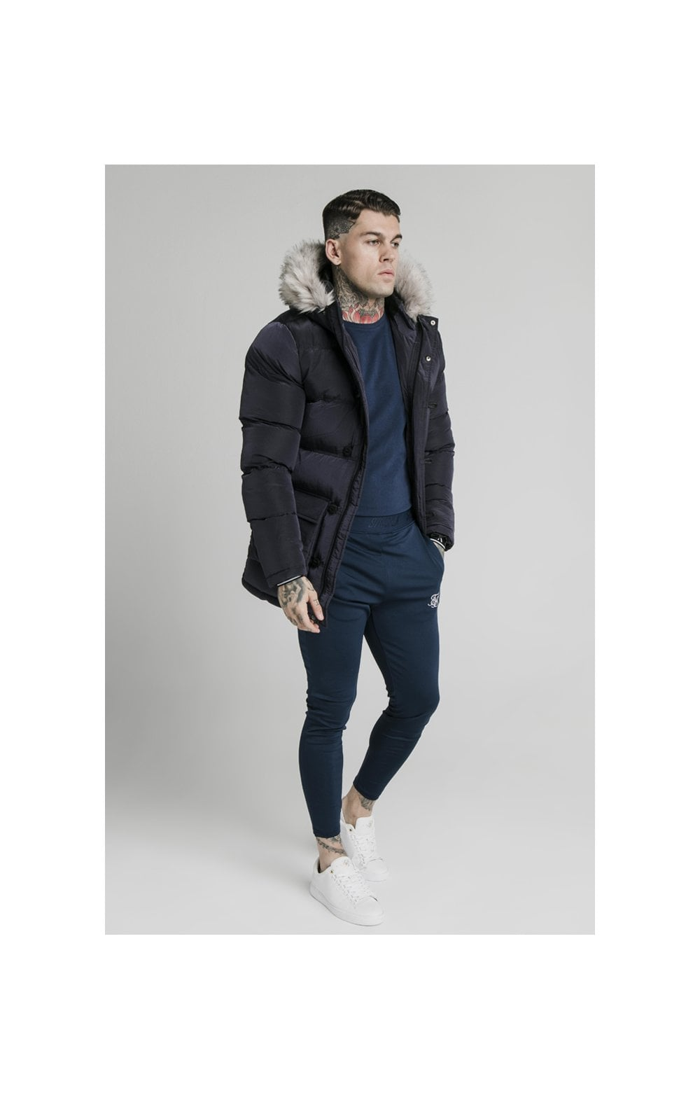Load image into Gallery viewer, SikSilk Rip Stop Puff Parka - Navy (3)