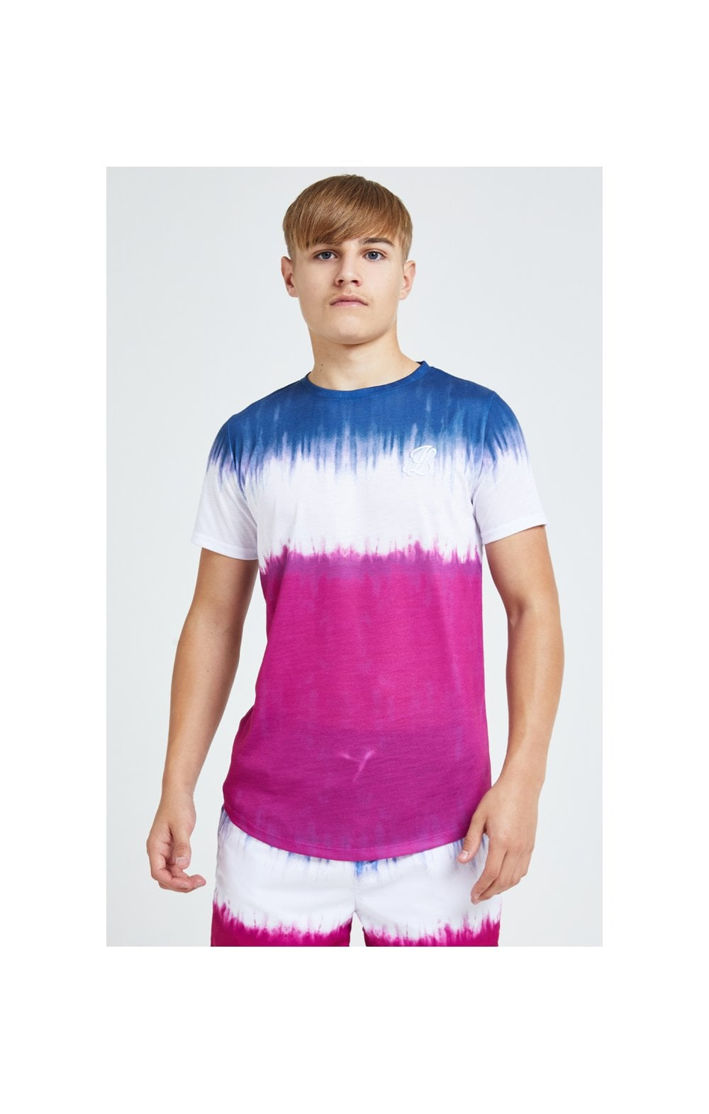 Illusive London Tie Fade Print Tee – Indigo, White & Pink