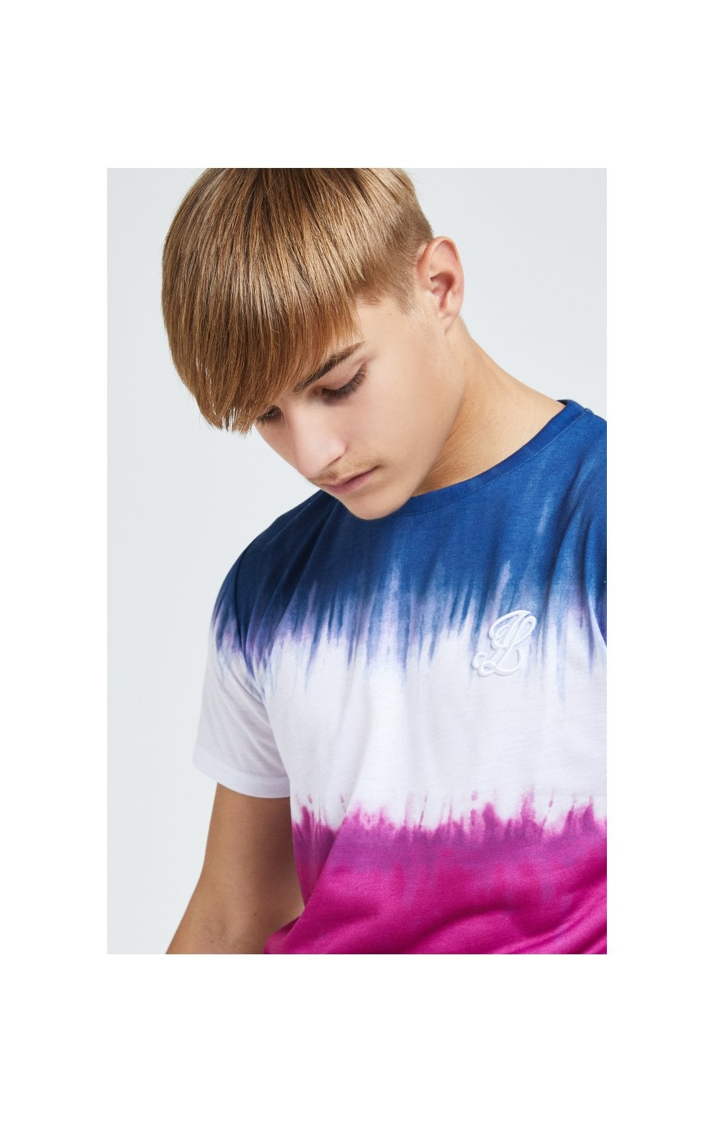 Load image into Gallery viewer, Illusive London Tie Fade Print Tee – Indigo, White & Pink (1)