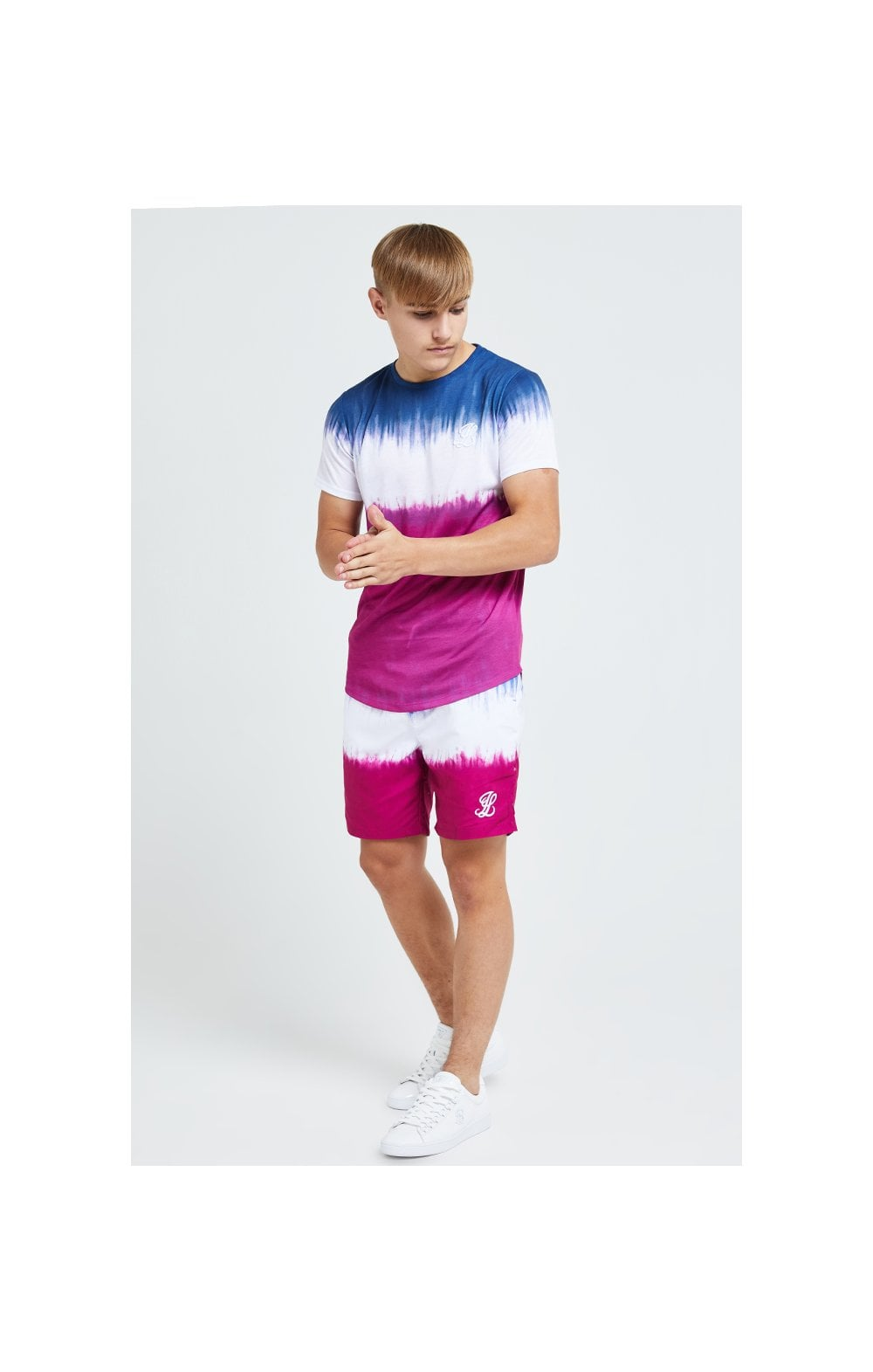 Load image into Gallery viewer, Illusive London Tie Fade Print Tee – Indigo, White & Pink (2)