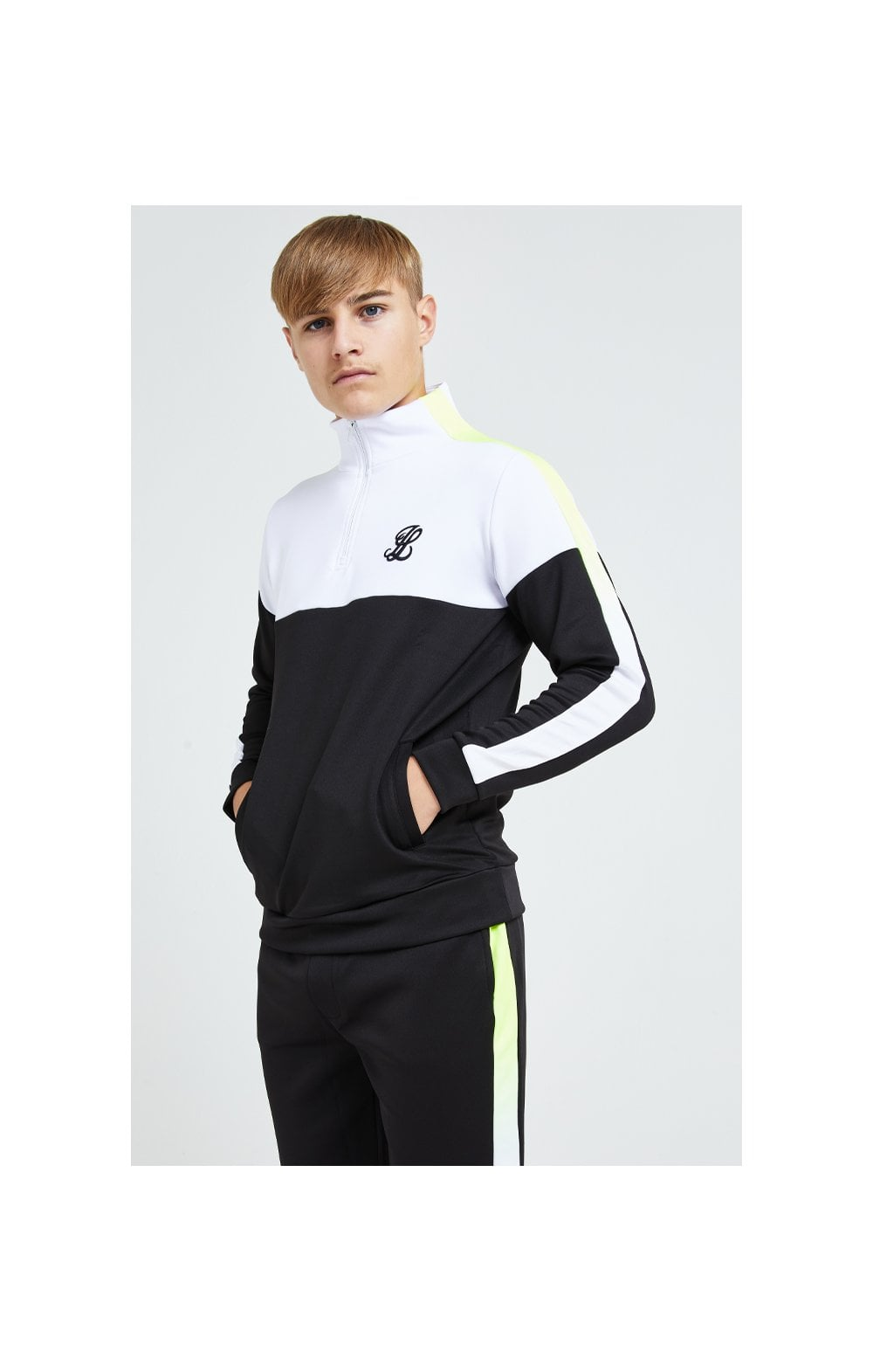 Illusive London Fade Funnel Neck Hoodie - Black,White & Neon Yellow