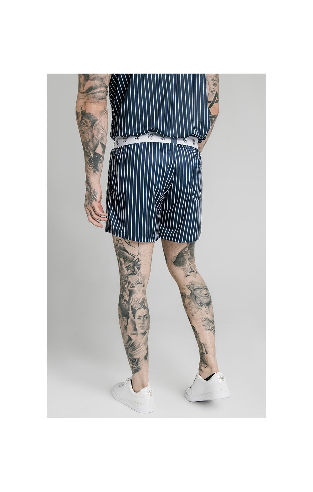 SikSilk Eyelet Elasticated Swim Shorts - Navy & White (7)