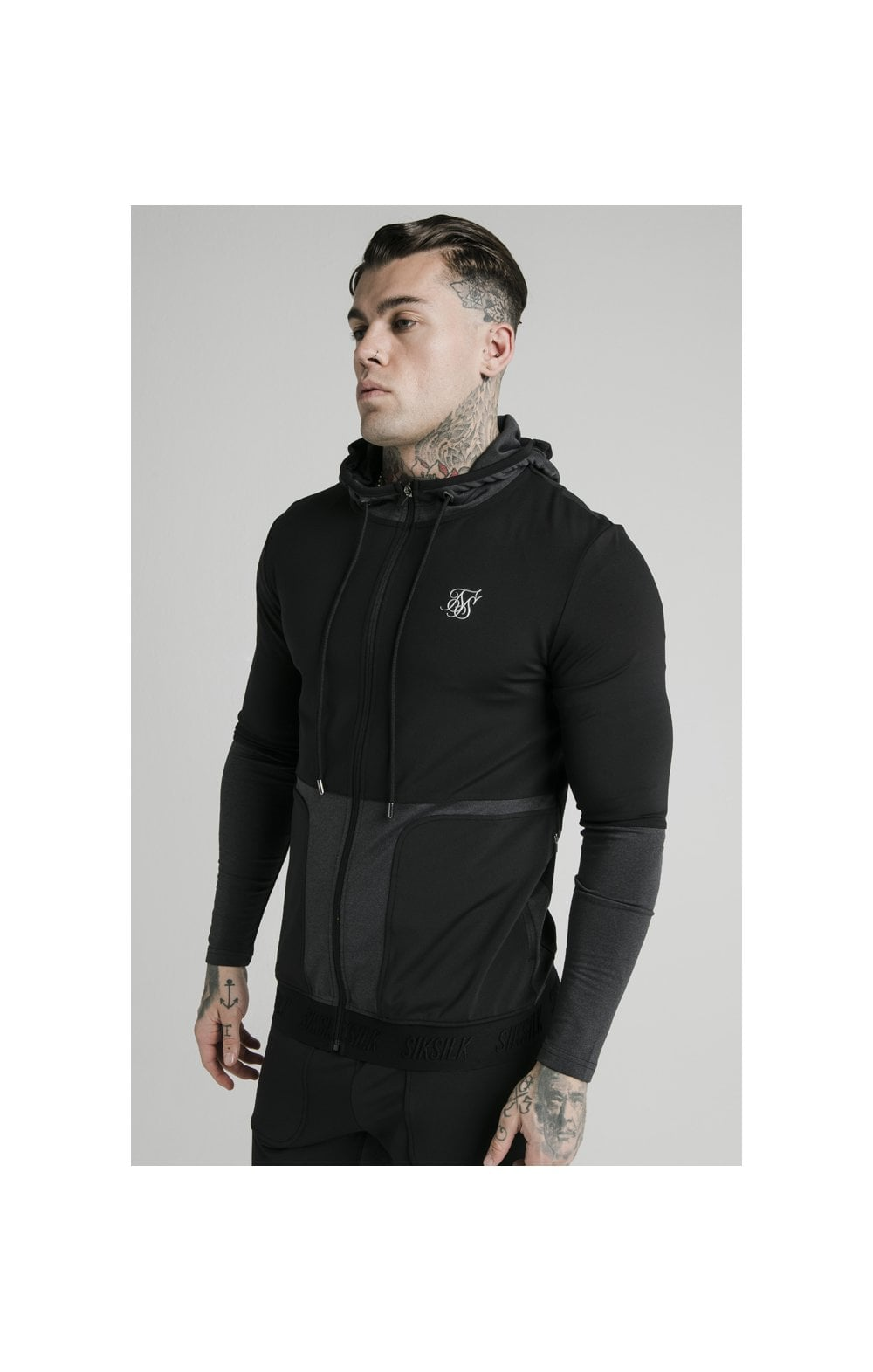 SikSilk Advanced Tech Zip Through Hoodie - Black
