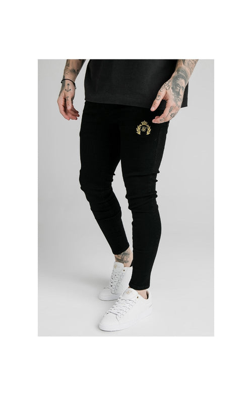 SikSilk Distressed Prestige Skinny Denims - Black