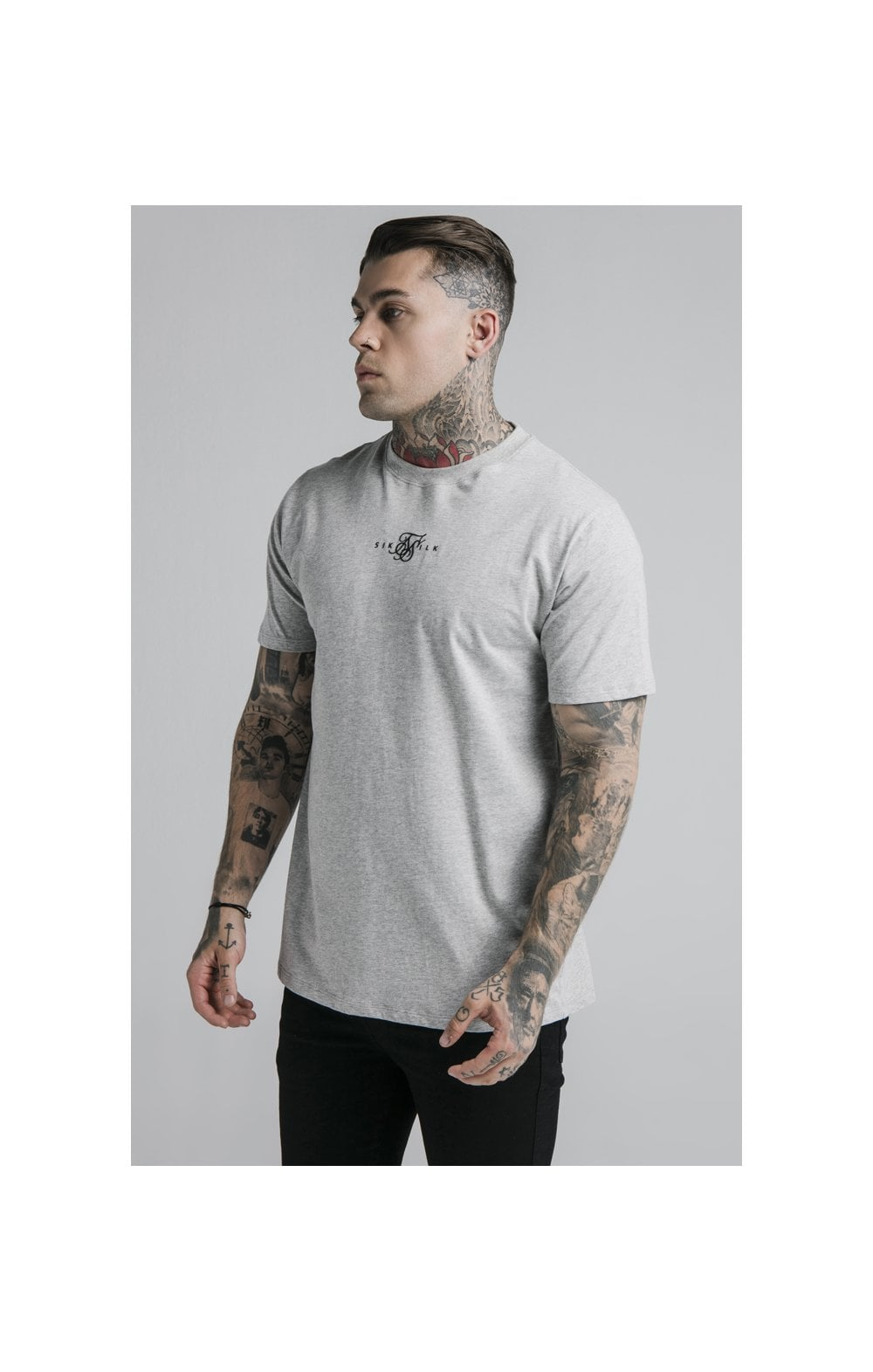 SikSilk S/S Basic Core Tee – Grey Marl